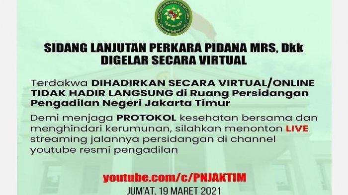 Link Live Streaming YouTube Sidang Dakwaan Rizieq Shihab di Pengadilan Jakarta Timur