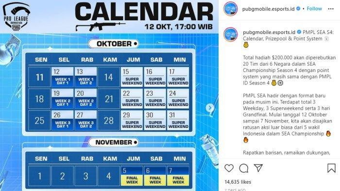 Simak jadwal PUBG Mobile Pro League PMPL SEA Championship S4.