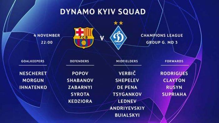 Link Live Streaming Dynamo Kyiv vs Barcelona, Ini Daftar Lengkap Jadwal dan Klasemen Liga Champions