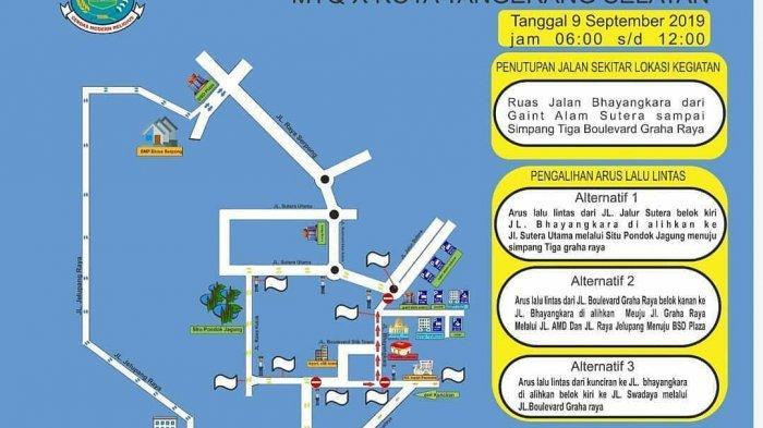 Ada Pawai MTQ Tangsel, Jalan Bhayangkara Serpong Utara Ditutup, Simak Rekayasa Lalu Lintasnya