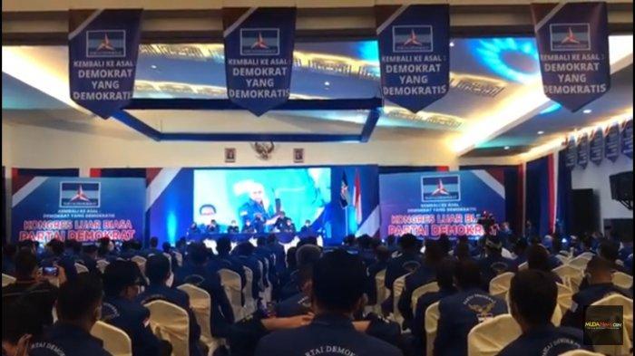 Suasana Kongres Luar Biasa (KLB) Partai Demokrat di The Hill Hotel Sibolangit, Deliserang, Sumatera Utara, Jumat (5/3/2021) siang.