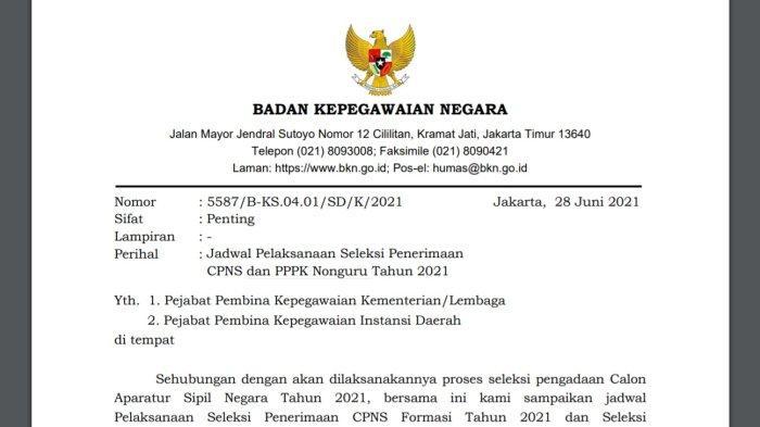 Surat edaran BKN nomor 5587/B-KS.04.01/SD/K/2021 tentang Jadwal Pelaksanaan Seleksi Penerimaan CPNS dan PPPK Nonguru Tahun 2021 yang dikeluarkan tanggal 28 Juni 2021 telah dijelaskan terkait jadwal seleksi CASN.
