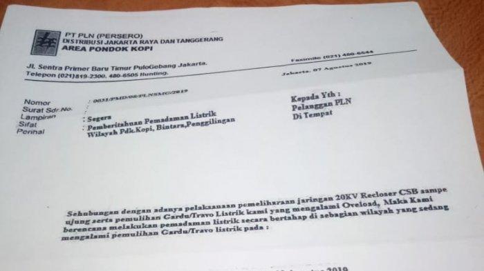 PLN Pastikan Surat Edaran Pemadaman Listrik di Pondok Kopi, Bintara dan Penggilingan Hoaks