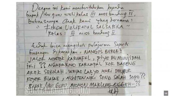 Orangtua Siswa Tulis Surat Izin Tak Masuk Sekolah Untuk Anaknya Alasannya Unik Dan Tak Lazim Tribun Jakarta