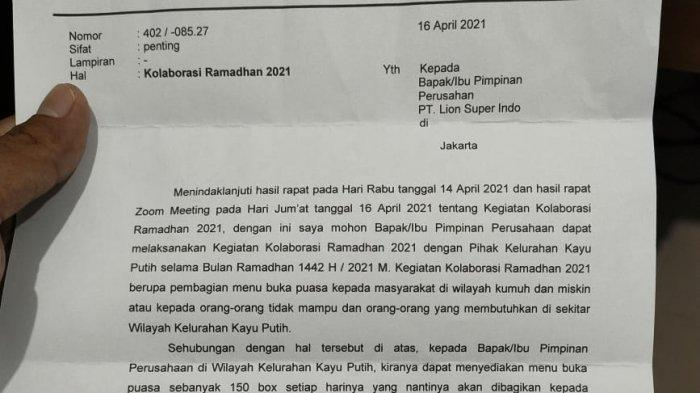 Surat edaran terkait penyediaan makanan buka puasa di wilayah Kayu Putih, Jakarta Timur