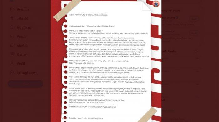Surat Presiden Klub Persija Jakarta - Mohamad Prapanca