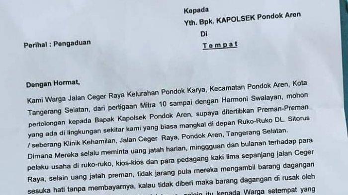 Viral Surat Warga Ceger Pondok Aren Diresahkan Aksi Premanisme, Pedagang Dimintai Uang Oleh 3 Ormas