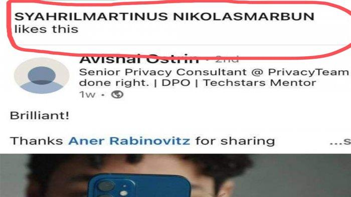 Layar tangkap kegiatan Syahril Parlindungan Marbun di sosial media Linked In.