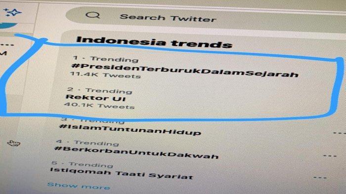 Tumpahkan Sederet Kekecewaan, Tagar Presiden Terburuk dalam Sejarah Trending di Twitter Rabu Pagi