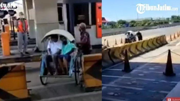 Video Becak Masuk Jalur Tol Viral di Media Sosial, Terungkap Kenapa Bisa Lolos di Pintu Masuk