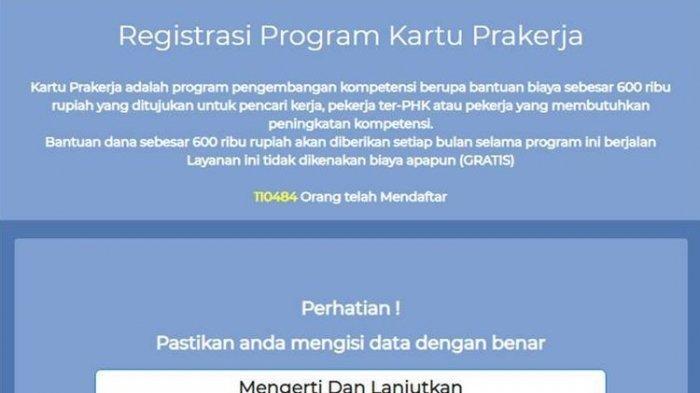 Tangkapan layar laman Prakerja palsu