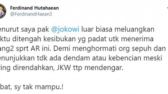Tangkapan layar twitter Ferdinand Hutahaean