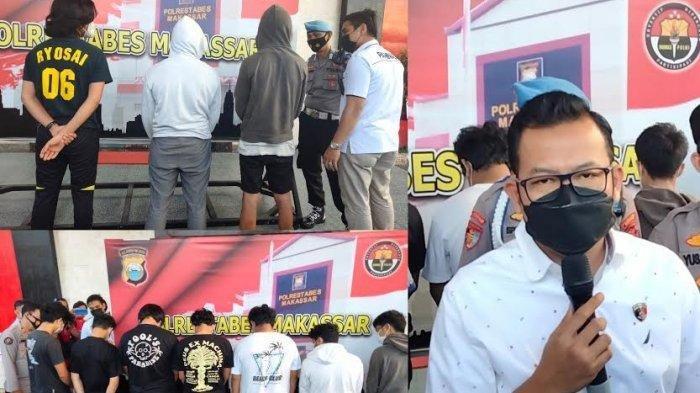 Kasat Reskrim Polrestabes Makassar Kompol Jamal Fathur Rakhman, saat merilis pengungkapan delapan petarung Makassar Street Fighter di Mapolrestabes Makassar, Rabu (4/8/2021) sore.