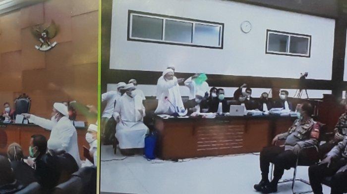 Tayangan sidang kasus kerumunan warga di Petamburan saat Rizieq Shihab marah kepada Jaksa Penuntut Umum (JPU) di Pengadilan Negeri Jakarta Timur, Kamis (22/4/2021).