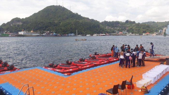 Arena pertandingan final selam laut PON Papua di Teluk Yos Sudarso, Kota Jayapura, Senin (11/10/2021).