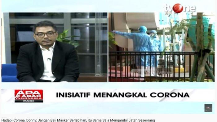 Tenaga Ahli Utama KSP, Donny Gahral Adian soroti pemborong masker di pasaran.