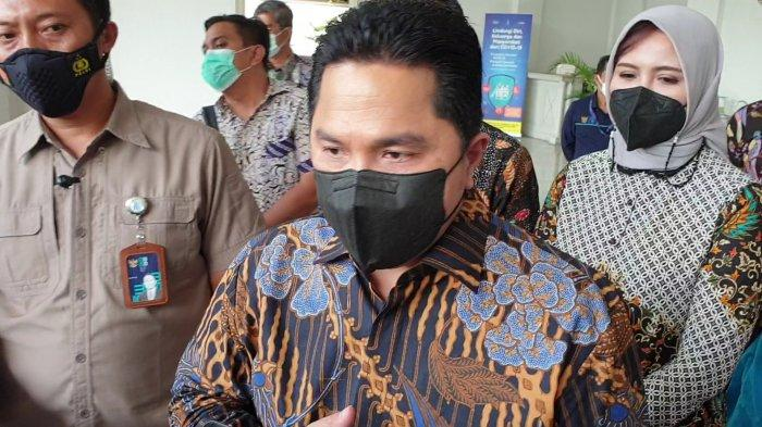 Menteri BUMN Erick Thohir saat ditemui di Balai Kota Jakarta, Kamis (4/3/2021).