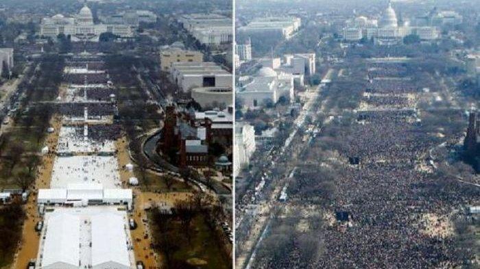 Terkuak Foto Pelantikan Donald Trump Diedit Agar Tampak Lebih Banyak Warga Hadir, Ini Penjelasannya