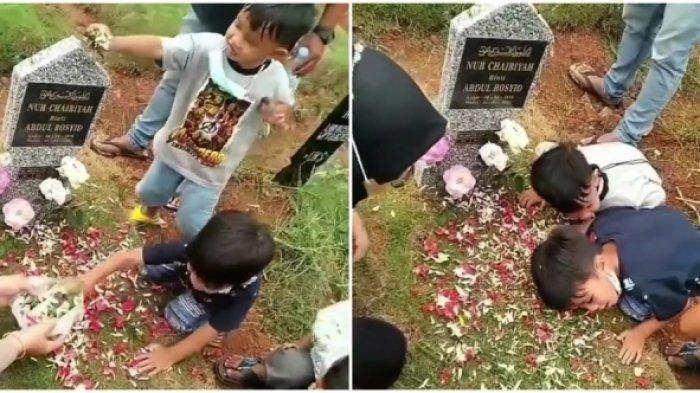 Viral Tingkah Polos Dua Bocah saat Ziarah ke Makam Mamanya, Arie Untung: Kena Mental Lihat Video Ini