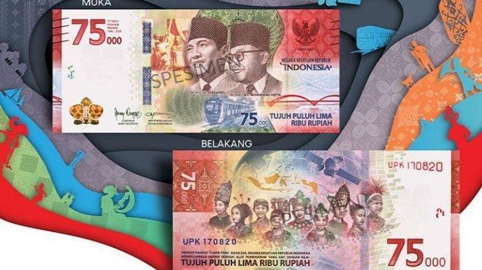 Beredar Penampakan Uang Pecahan RP 75 RIbu Edisi Khusus yang Dirilis Bank Indonesia Hari Ini