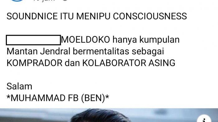 Unggahan di akun Facebook Muhammad Basmi.