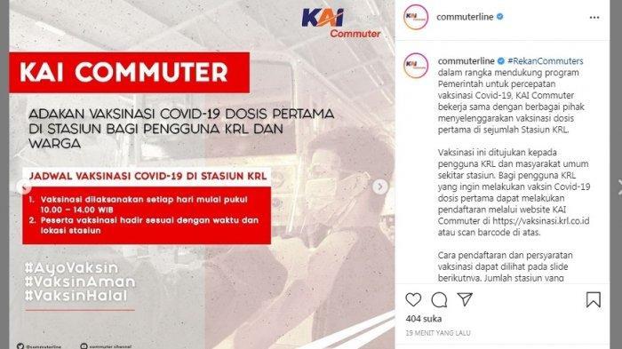 Cek Lokasi dan Jadwal Vaksinasi Gratis di Stasiun KRL, Daftar Via vaksinasi.krl.co.id