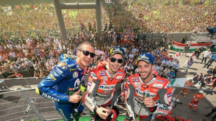 Valentino Rossi, Jorge Lorenzo, dan Andrea Dovizioso yang meraih podium di MotoGP Italia, Minggu (3/6/2018). DOK. MOTOGP