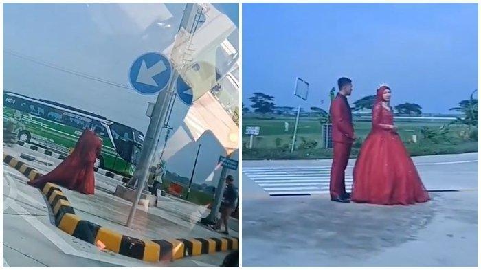 Penjelasan Foto Viral Sepasang Calon Pengantin Foto Pre-Wedding di Gerbang Tol Sragen