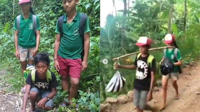 Kisah Haru Bocah SD Berangkat ke Sekolah Lewat Jalan Terjal 3 Jam, Bawa Bekal Jagung untuk Ujian