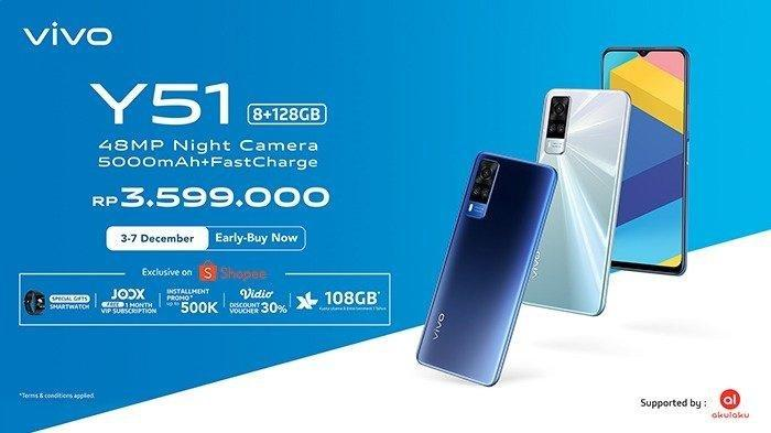 Vivo Y51 yang dijual di Indonesia Rp 3, 6 juta dan dibekali RAM 8GB dan baterai 5000 mAh.