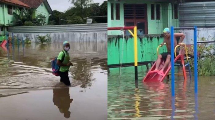 Heboh Kelakuan Anak Bekasi, Berenang di Tengah Banjir: Gayanya Bikin Ngakak
