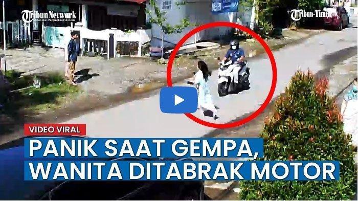 Detik-detik Seorang Wanita Tertabrak Motor saat Gempa di Sulawesi Barat, Panik dan Lari keluar Rumah
