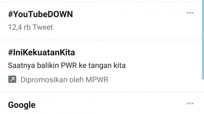 Hashtag #YouTubeDown Puncaki Trending Topik Twitter