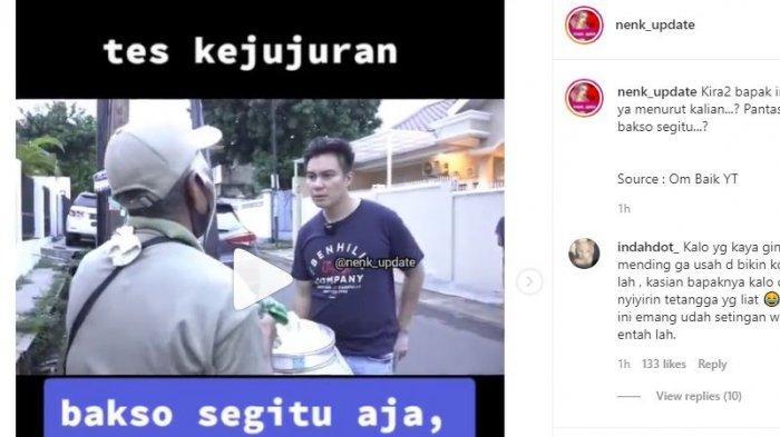 Bantu Lariskan Tukang Bakso Keliling, Baim Wong Syok Diminta Bayar Rp 1,3 Juta: Mahal Banget
