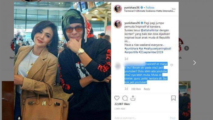 Dikritik Sebut Atta Halilintar YouTuber Inspiratif, Yuni Shara Beri Respon Santai Begini