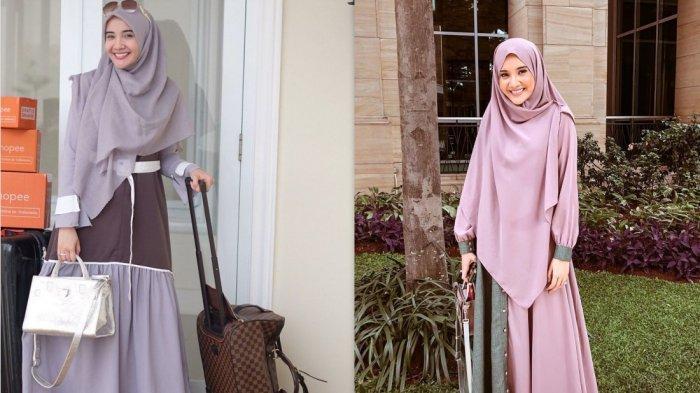 Inspirasi Busana Muslim Syari Ala Zaskia Sungkar, Simple, Menawan dan Tetap Modis di Hari Lebaran