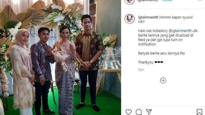 unggahan akun @igtainmenttt Minggu (4/4/2021) terlihat Kaesang dan Nadya foto bersama calon mempelai.