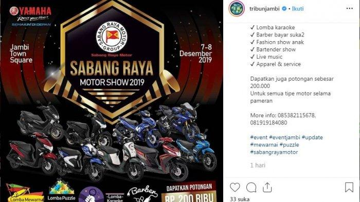 Sabang Raya Motor Show 2019 Akan Pamerkan Semua Motor Yamaha, Catat Tanggalnya