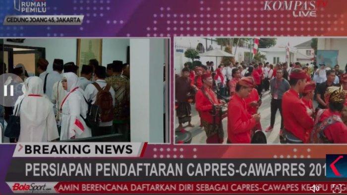 Live Streaming Pendaftaran Capres-cawapres 2018, Jokowi-Maruf Pagi, Prabowo-Sandiaga Siang