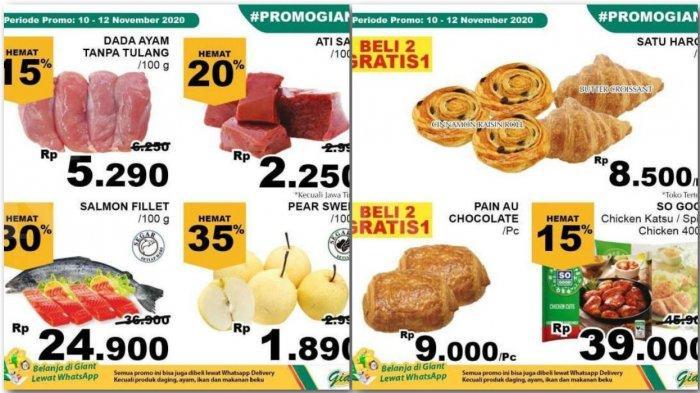 Promo Giant Weekday 10-12 November 2020, Promo Dada Ayam, Roti, Ati Sapi, Buah, Beras, Detergen