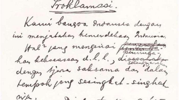 Sebelum Diketik Sayuti Melik Begini Teks Proklamasi Kemerdekaan Indonesia Ada Yang Dicorat Coret Tribun Jambi