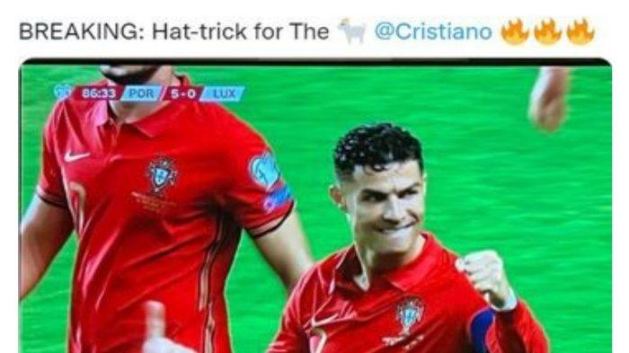 Cristiano Ronaldo Cetak 3 Gol dalam 6 Menit, Laga Portugal vs Luksemburg di Kualifikasi Piala Dunia