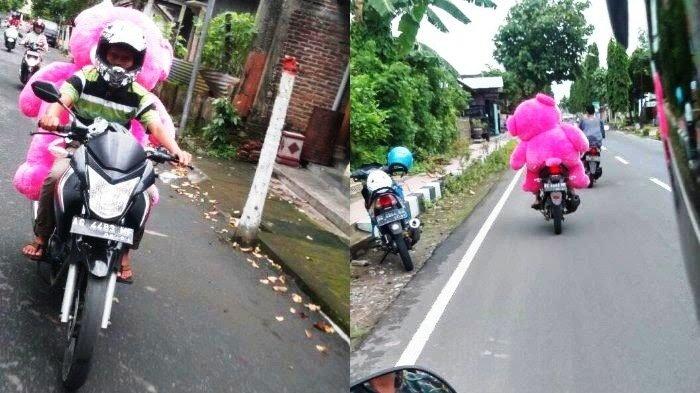 Sambil Mengendarai Motor, Pria Ini Bawa Boneka Teddy Bear Pink Jumbo. Tujuannya Bikin Terenyuh!
