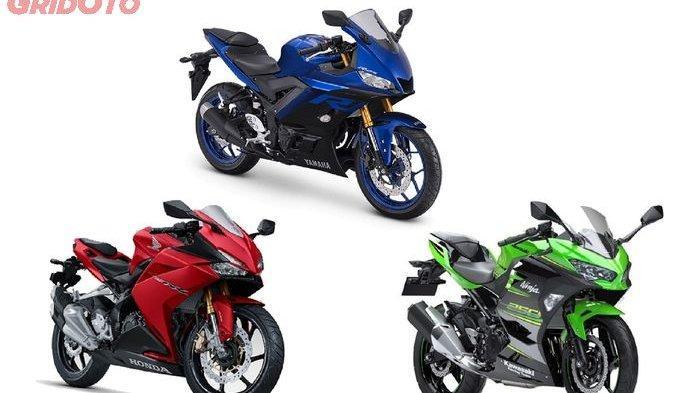 Ilustrasi Yamaha R25, Kawasaki Ninja 250, dan CBR250RR