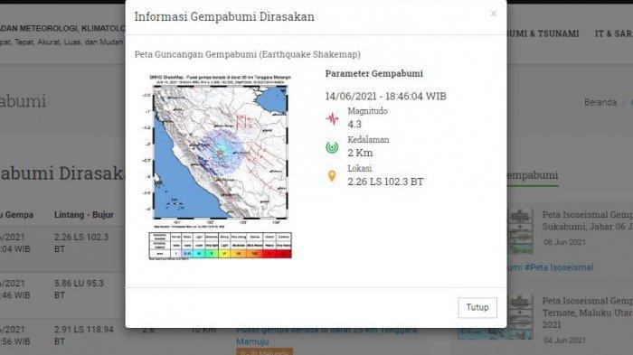 Analisi BMKG Terkait Gempa Bermagnitudo 4.3 di Merangin Jambi, Pusat Gempa di Darat