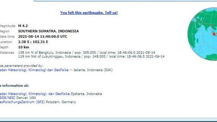 Gempa di Bengkulu, Senin (14/6) sekitar pukul 18.46