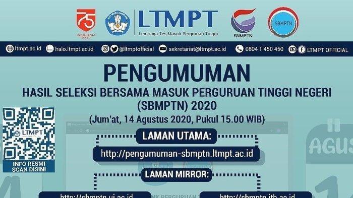 Pengumuman SBMPTN LTMP Cek di Sini, 13 Link Resmi Hasil SBMPTN 2020, Daftar Link 85 Universitas