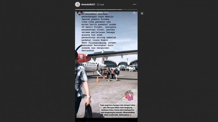 Suami Nulis Naik Lion Air ke Kolaka Goyangnya Aneh, Nina Zatulini Baca Hampir Nangis