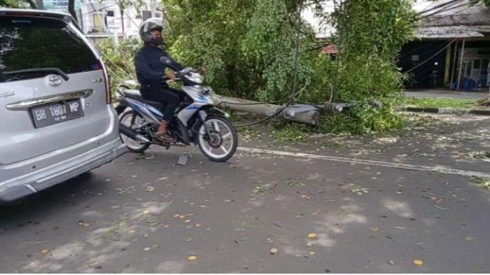 Pohon Tumbang di Jalan RE Martadinata Timpa Tiang Listrik Hingga Rubuh