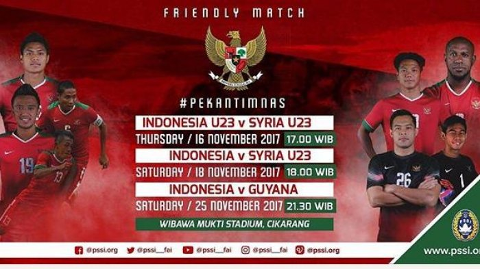Jadwal Timnas Indonesia Lawam Suriah  Kick Off Pukul 17.00 WIB, Klik di Sini!